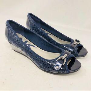 Anne Klein Sport Shoes - AK Sport Navy Blue wedge peep toe patent shoes 9